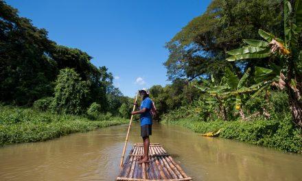 Door de Jamaicaanse jungle op een bamboevlot